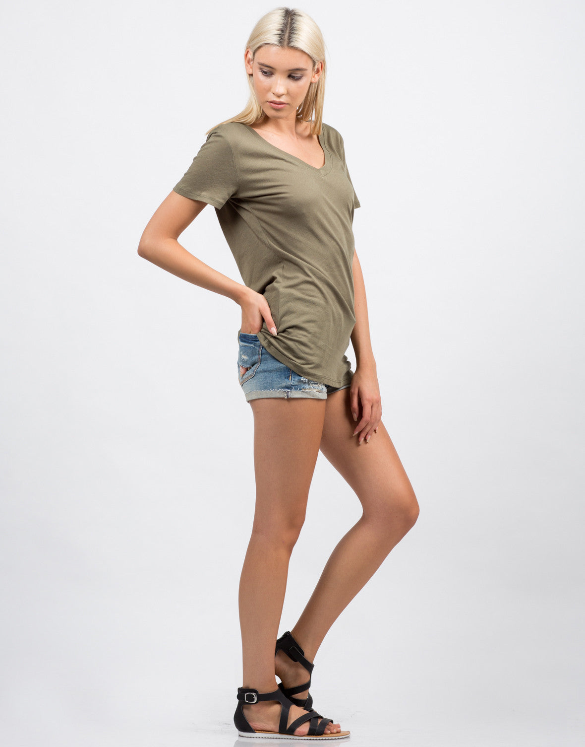 Side View of Cotton V-Neck Tee