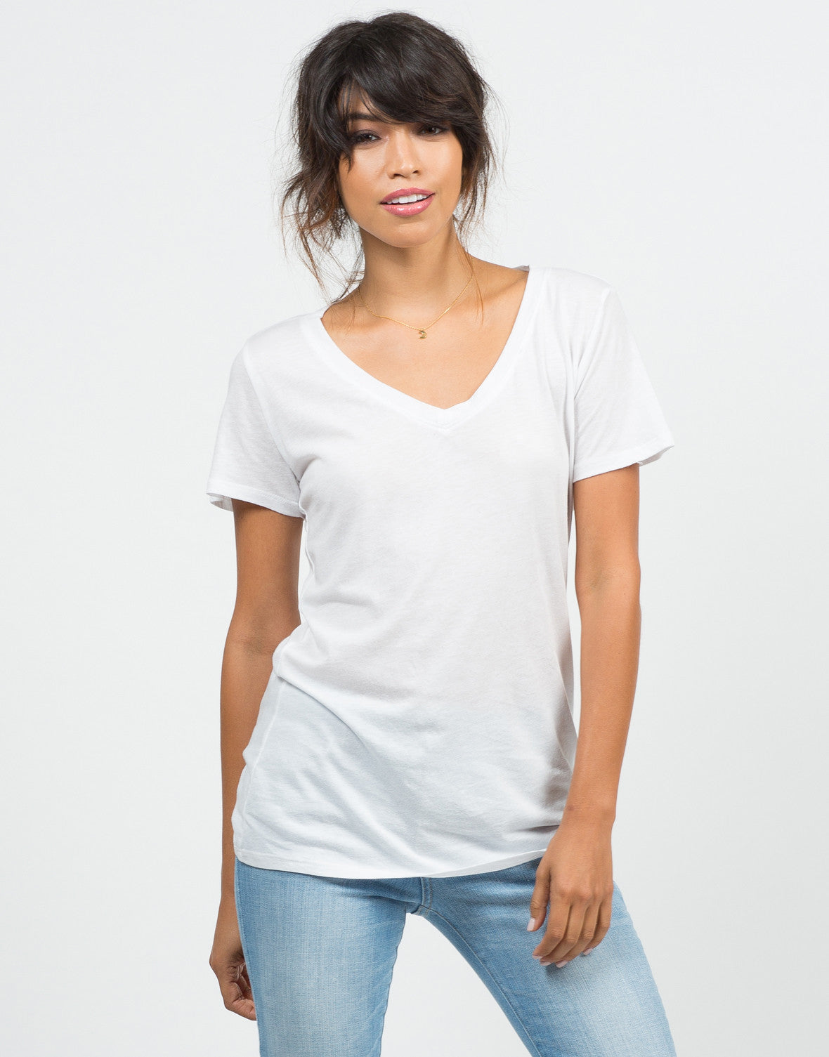 Front View of Cotton V-Neck Tee