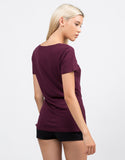 Back View of Cotton V-Neck Tee
