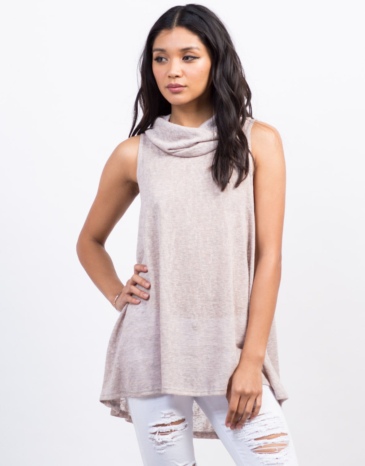Front View of Cowl Neck Tunic Top