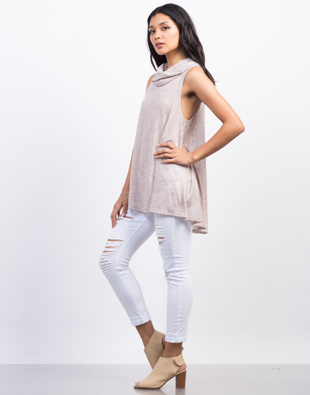 Side View of Cowl Neck Tunic Top