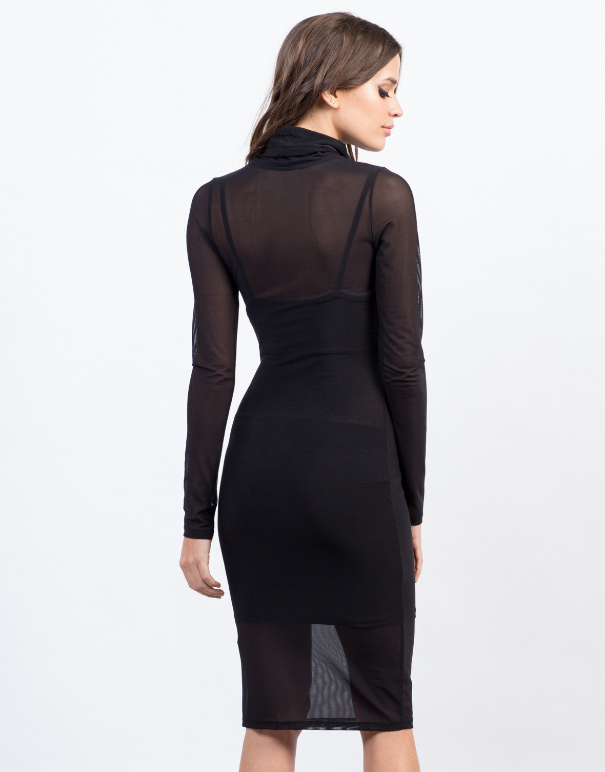 Back View of Cowl Neck Mesh Dress