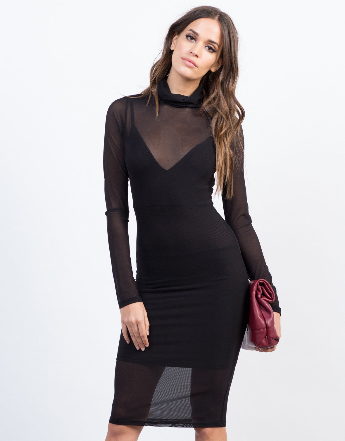 Front View of Cowl Neck Mesh Dress