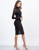 Side View of Cowl Neck Mesh Dress