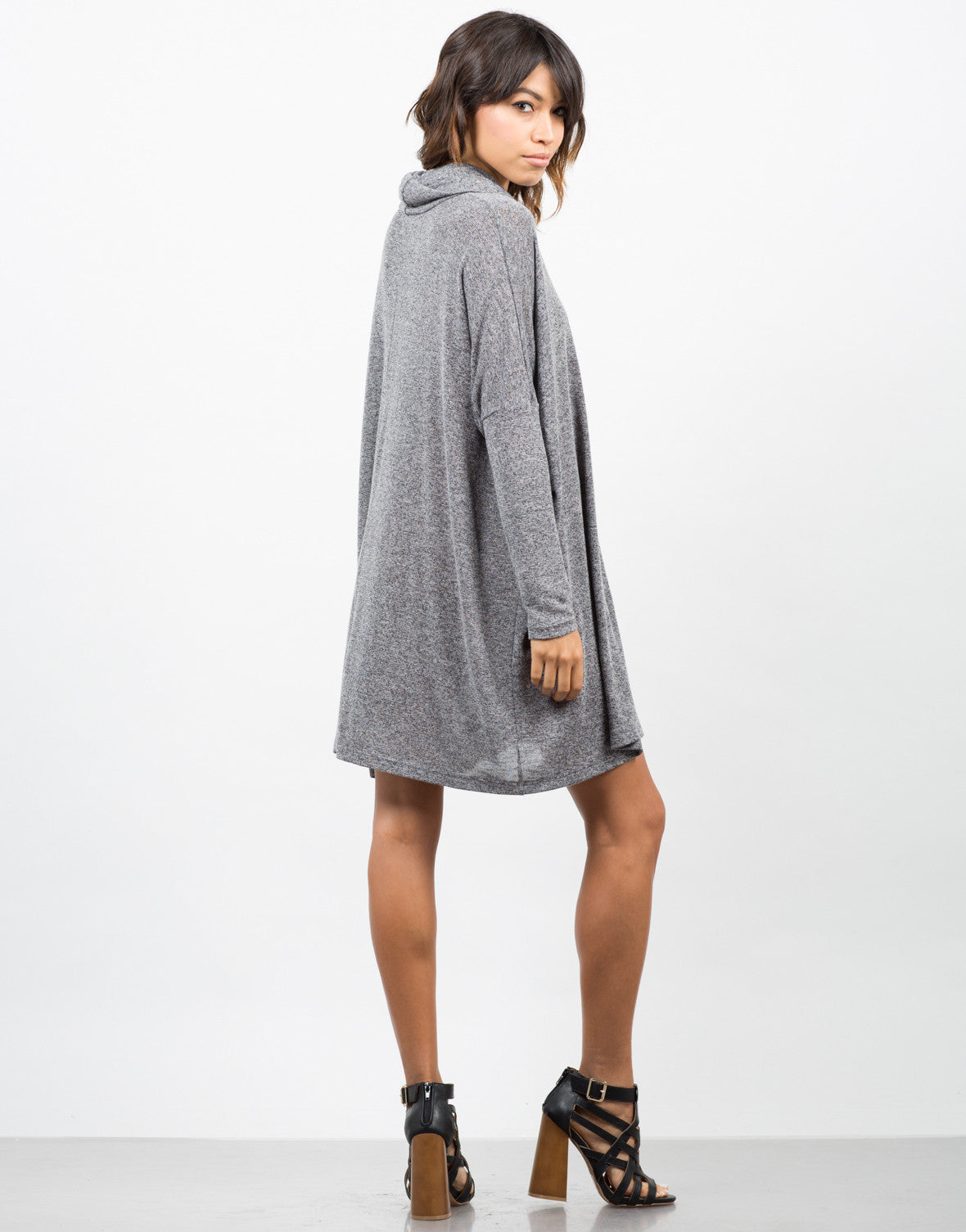 Back View of Cowl Neck Oversized Dress