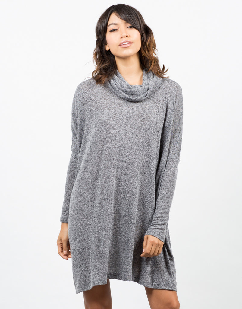 Front View of Cowl Neck Oversized Dress
