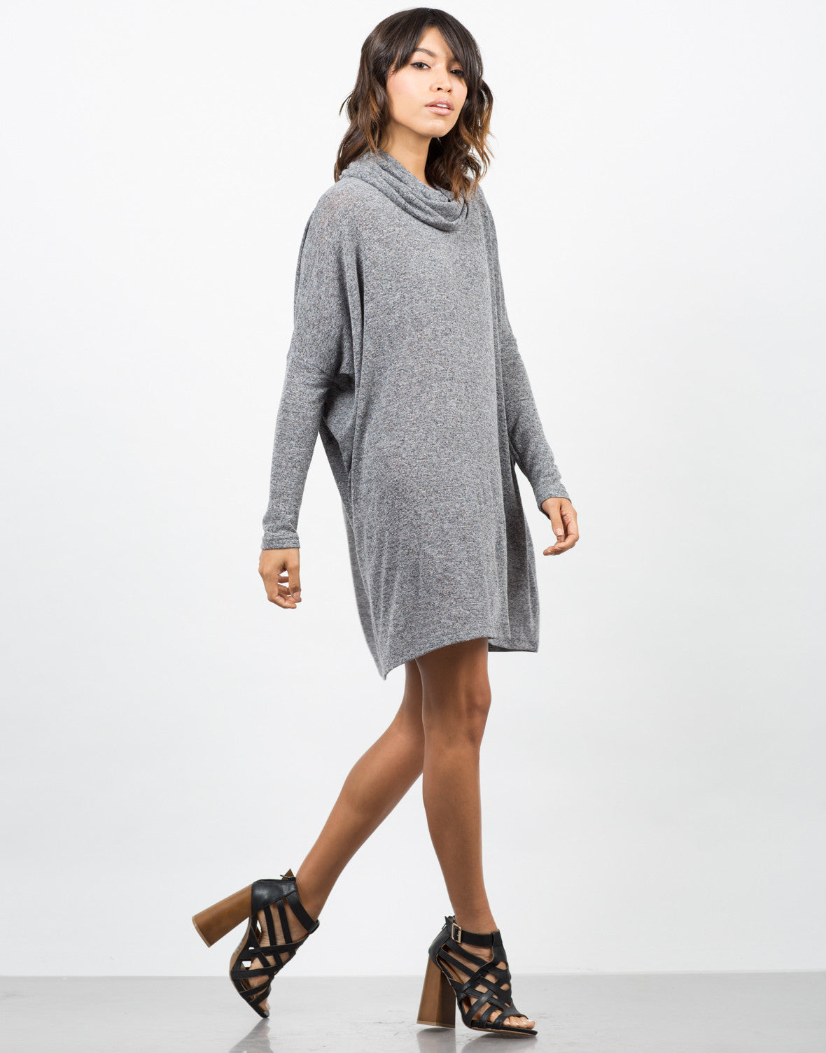 Side View of Cowl Neck Oversized Dress