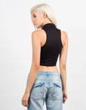 Back View of Cowl Neck Sleeveless Top
