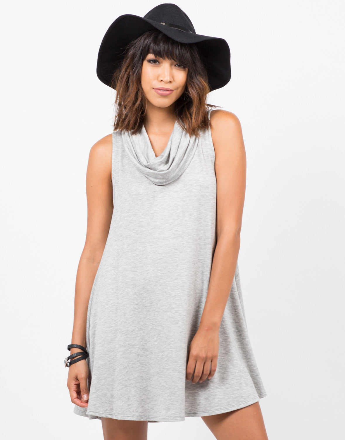 Front View of Cowl Neck Tunic Dress