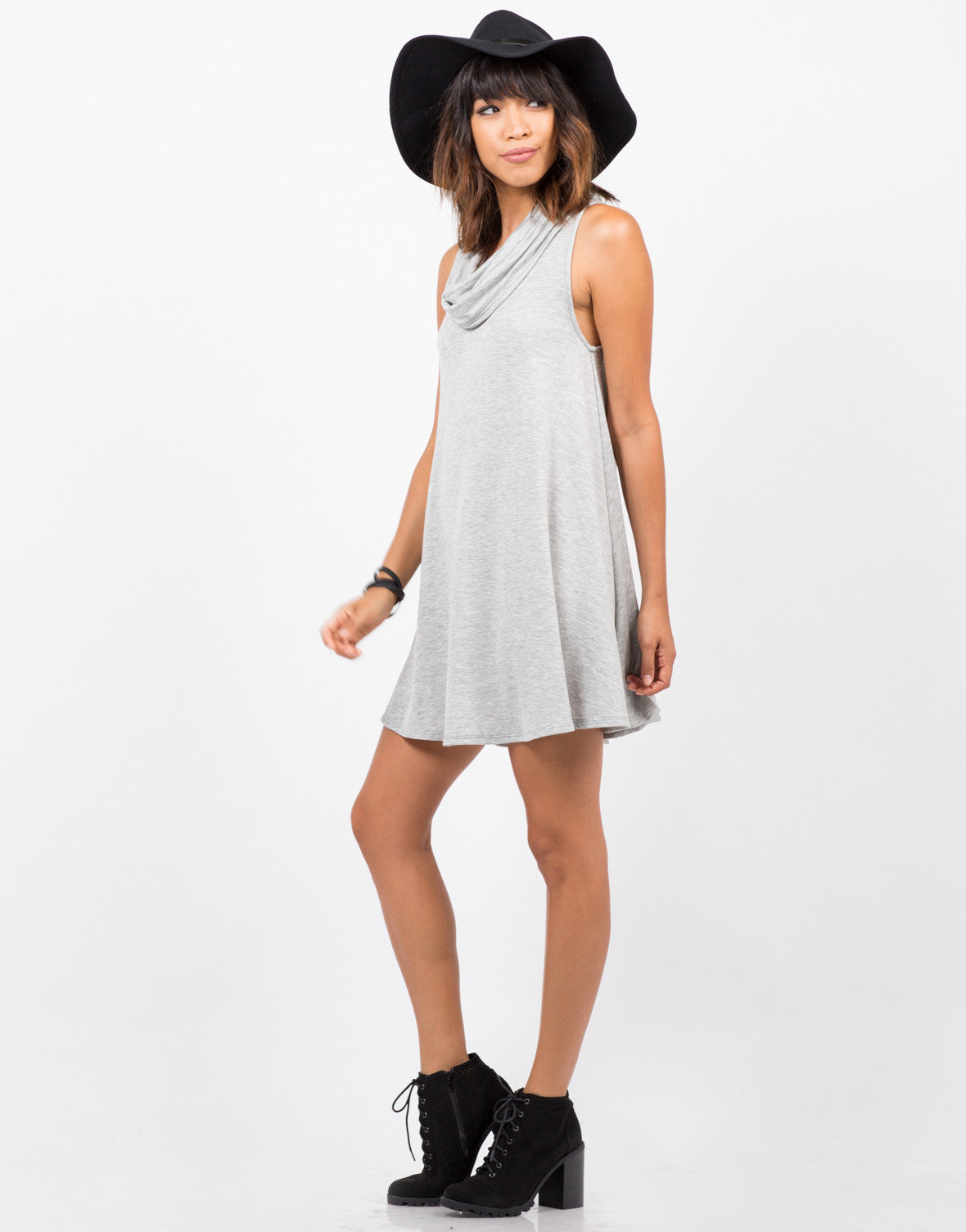 Side View of Cowl Neck Tunic Dress