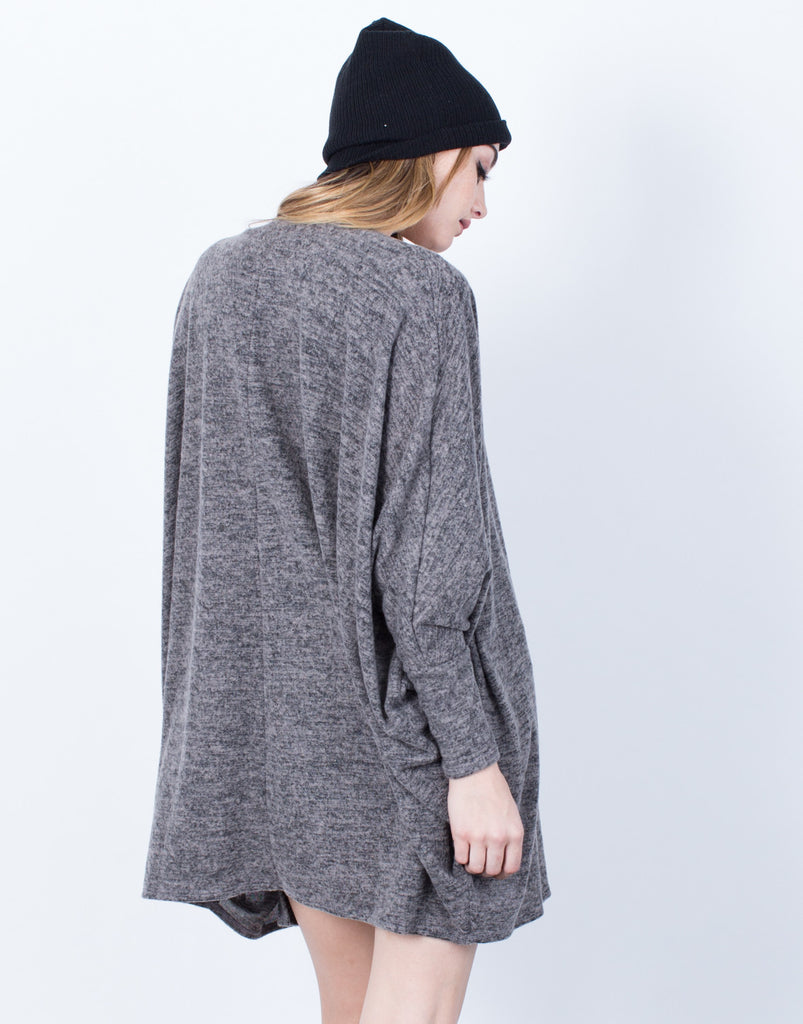 Back View of Cozy Brushed Knit Cardigan