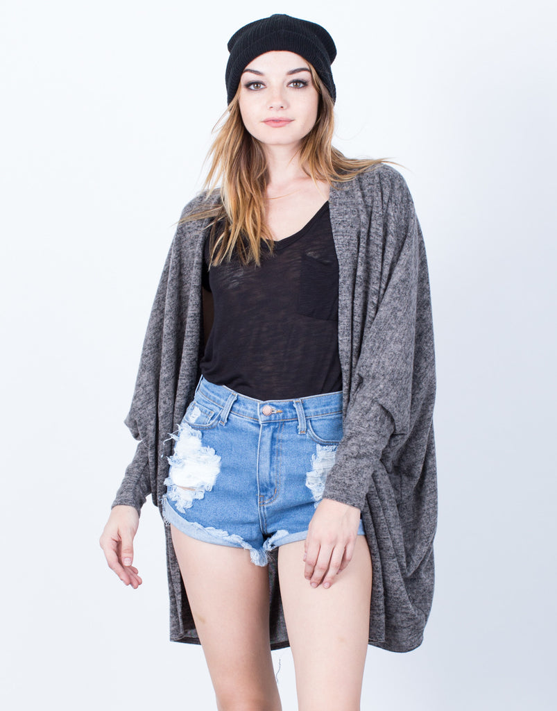 Front View of Cozy Brushed Knit Cardigan