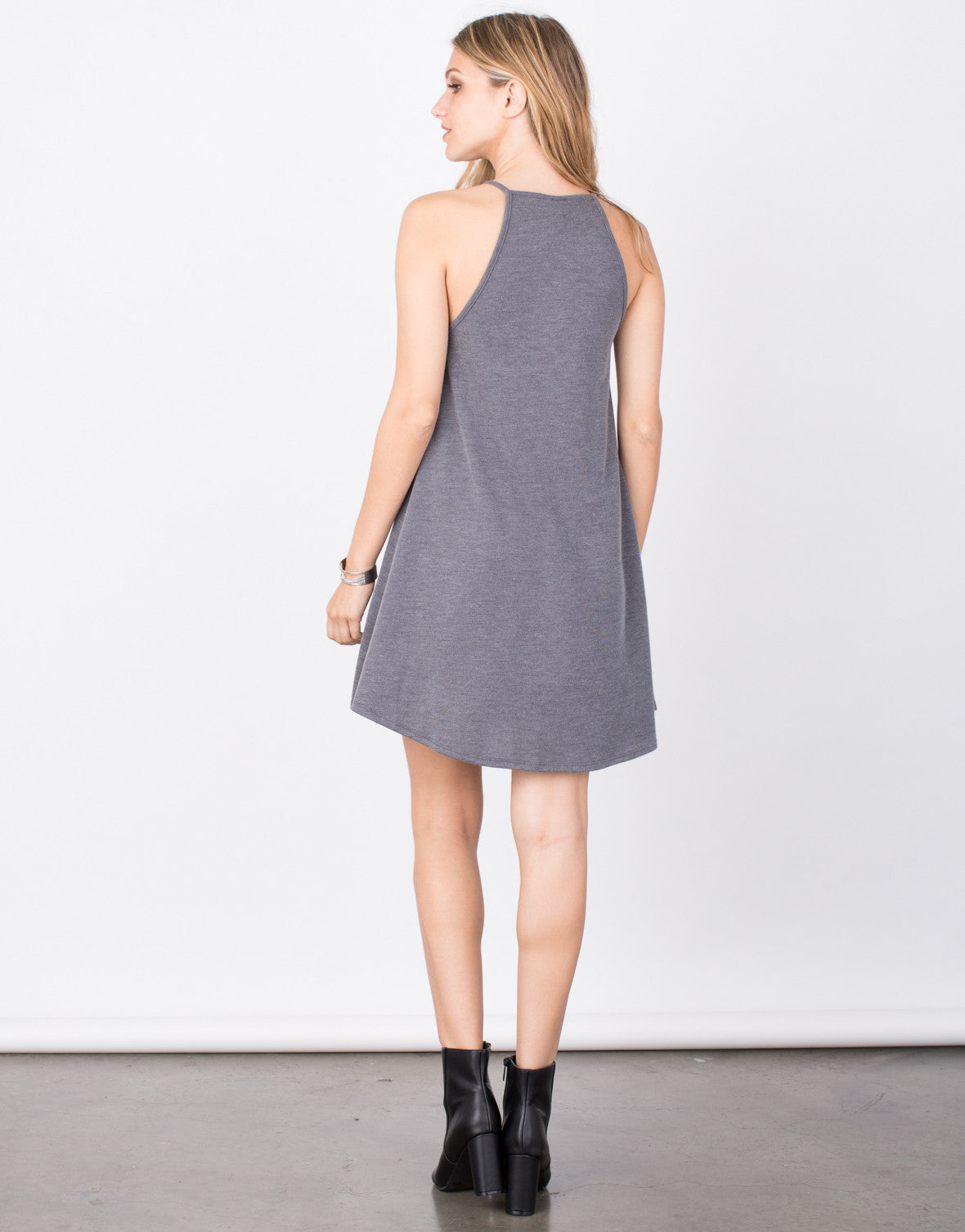 Back View of Cozy Knit Flared Dress
