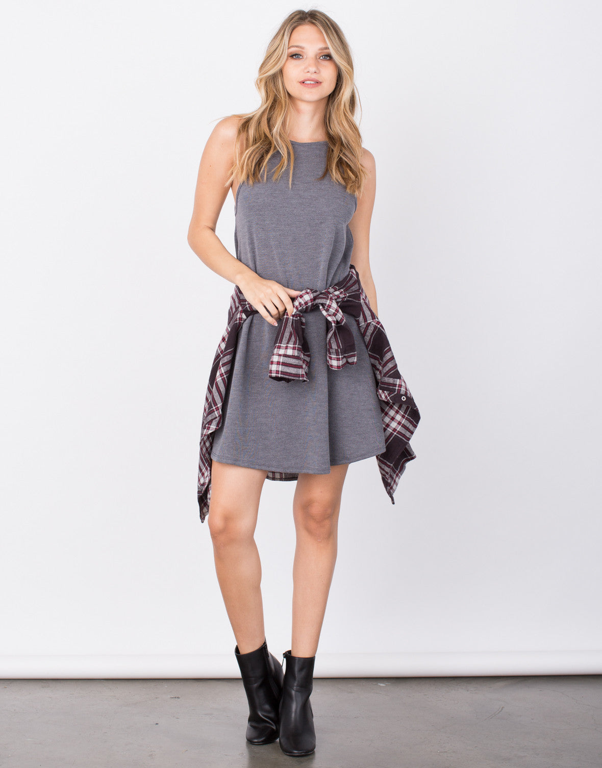 Front View of Cozy Knit Flared Dress
