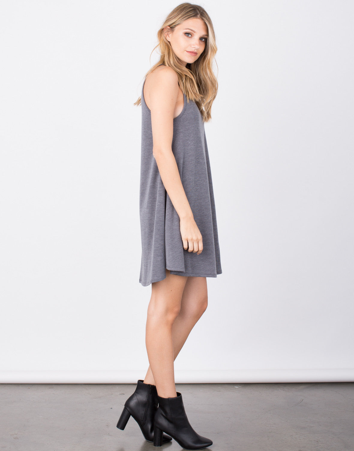 Side View of Cozy Knit Flared Dress
