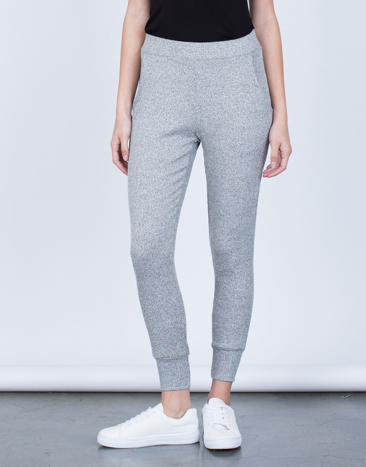 Front View of Cozy Knit Joggers