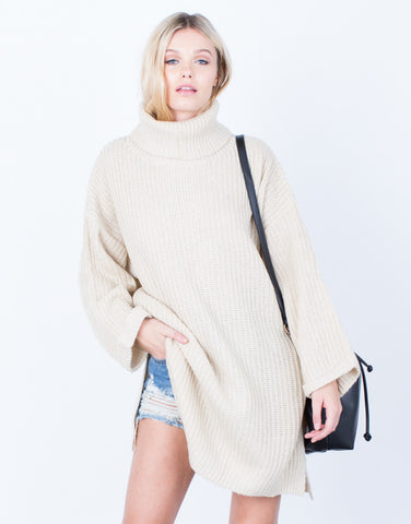 Front View of Cozy Oversized Sweater Top