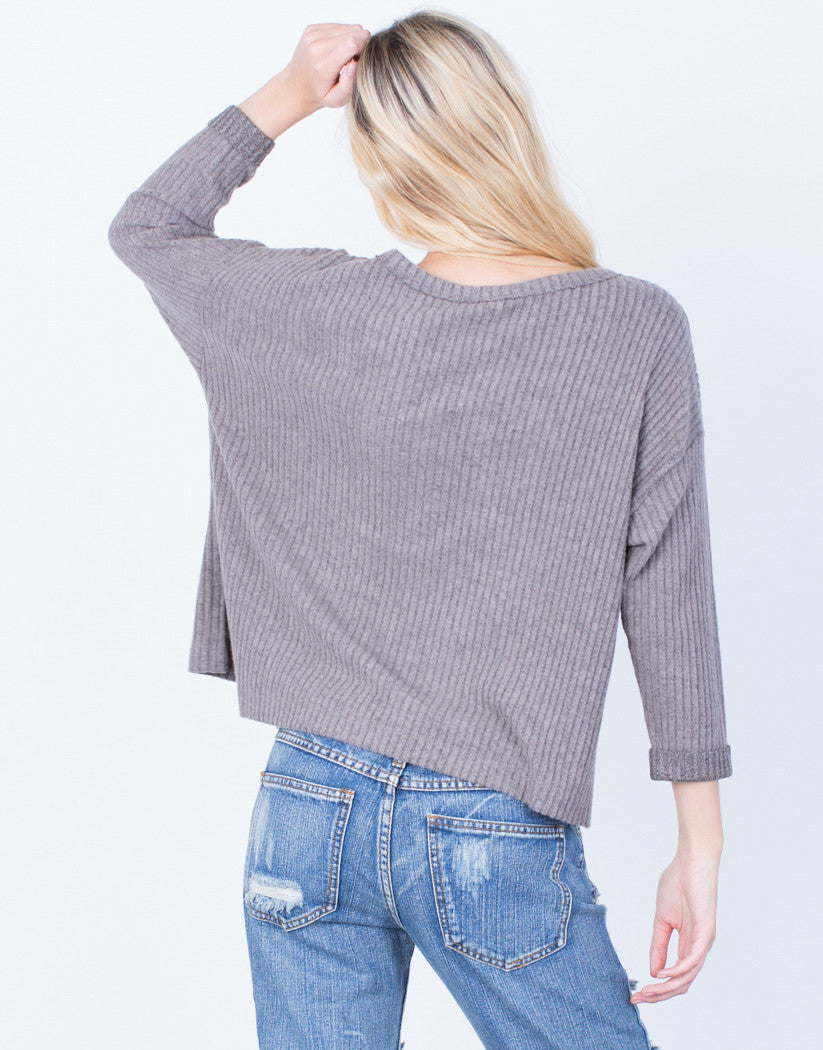 Back View of Cozy Ribbed Pocket Top
