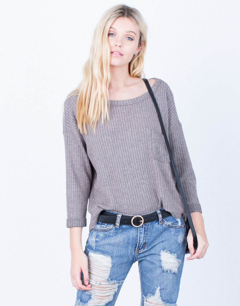 Front View of View of Cozy Ribbed Pocket Top
