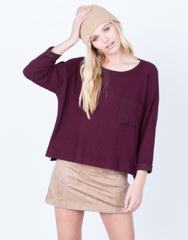 Front View of Cozy Ribbed Pocket Top