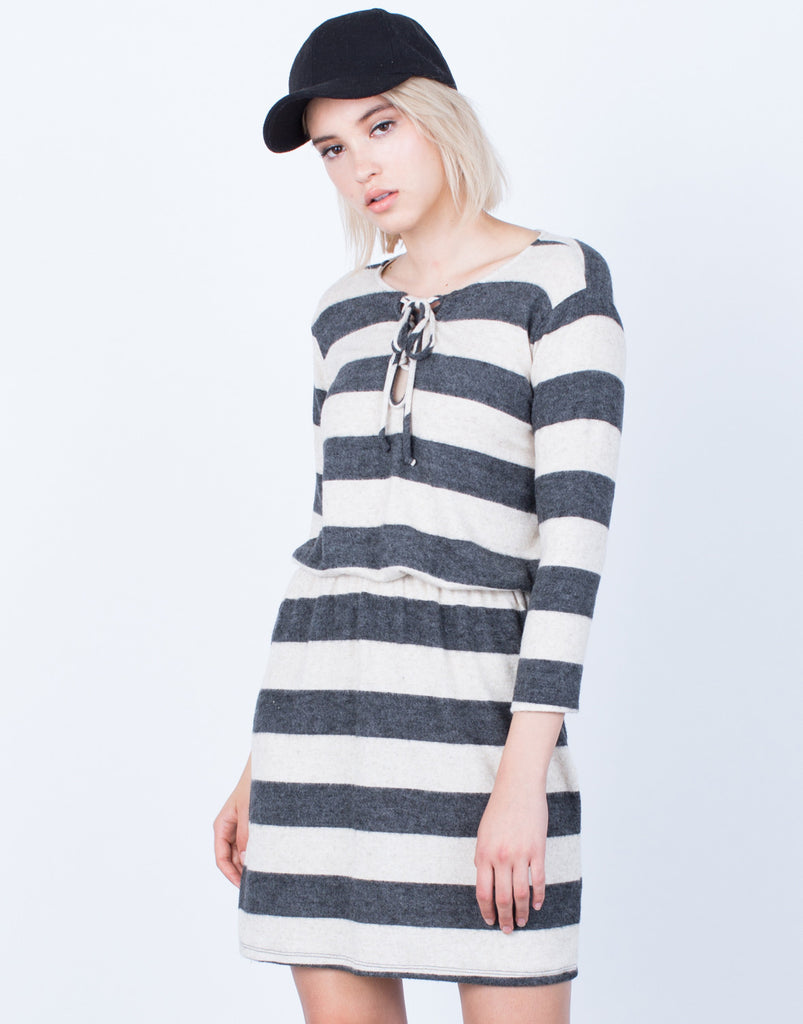 Front View of Cozy Up Knit Dress
