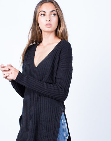 Detail of Cozy V-Neck Sweater Top