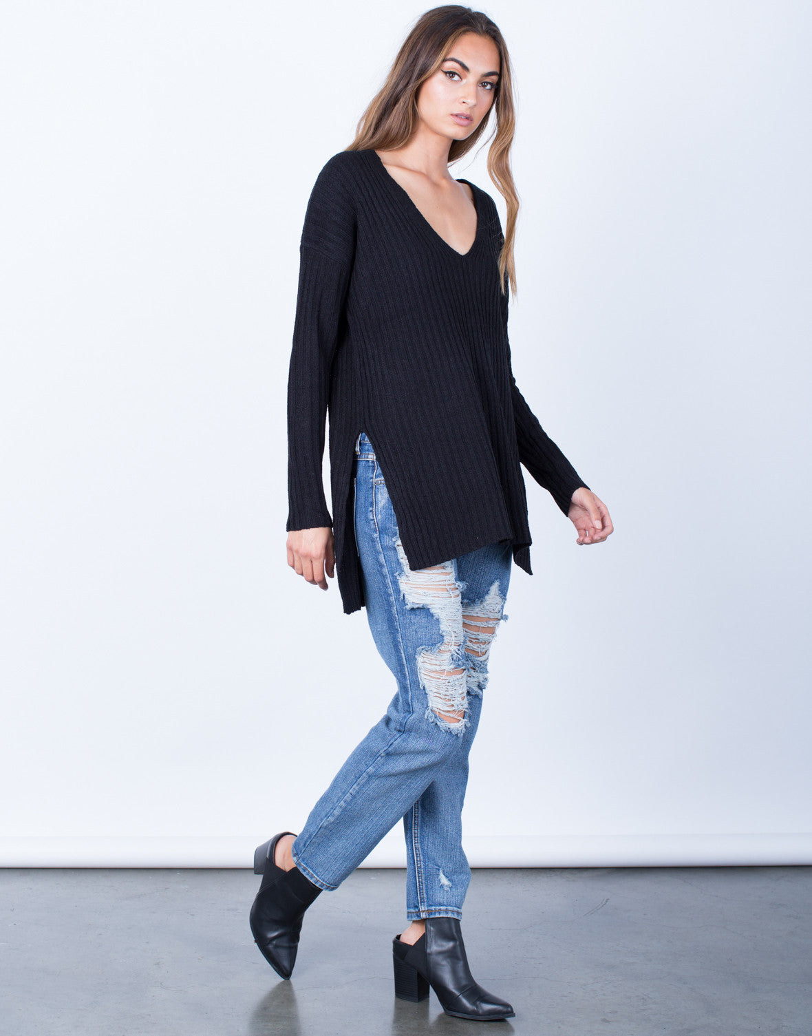 Side View of Cozy V-Neck Sweater Top