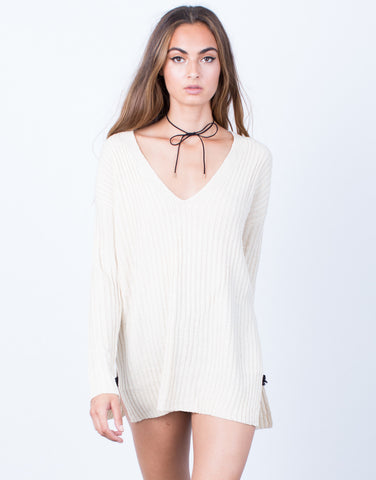Front View of Cozy V-Neck Sweater Top