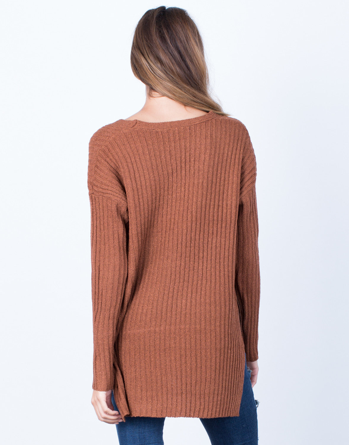 Back View of Cozy V-Neck Sweater Top