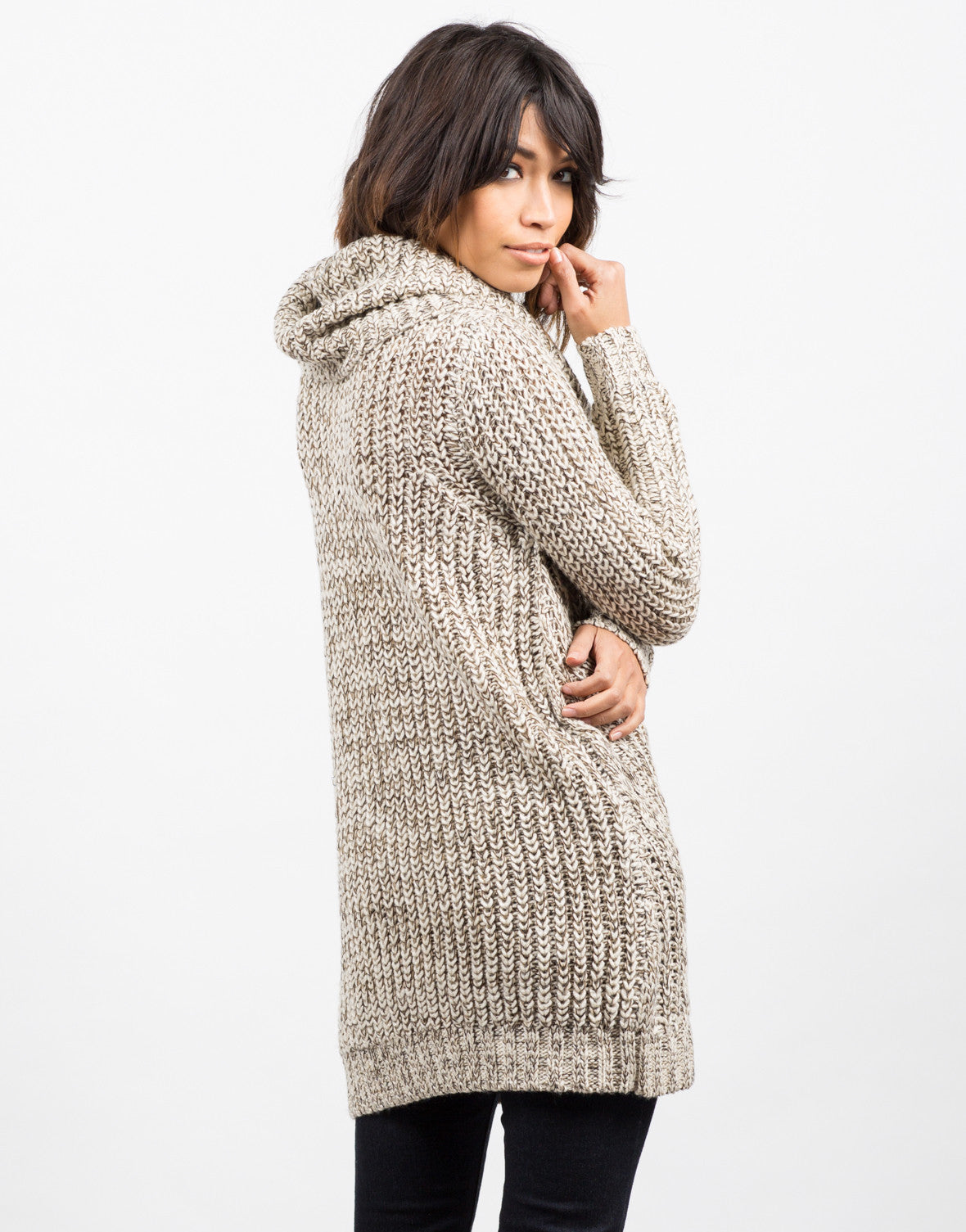 Back View of Cozy Knit Turtleneck Sweater