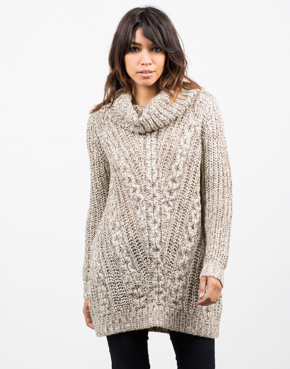 Front View of Cozy Knit Turtleneck Sweater