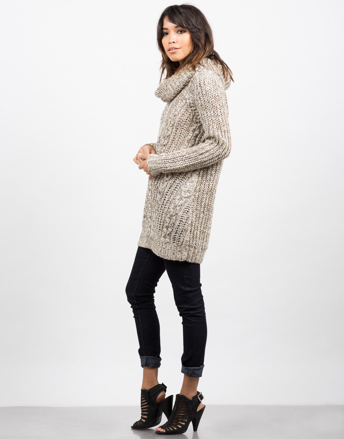 Side View of Cozy Knit Turtleneck Sweater