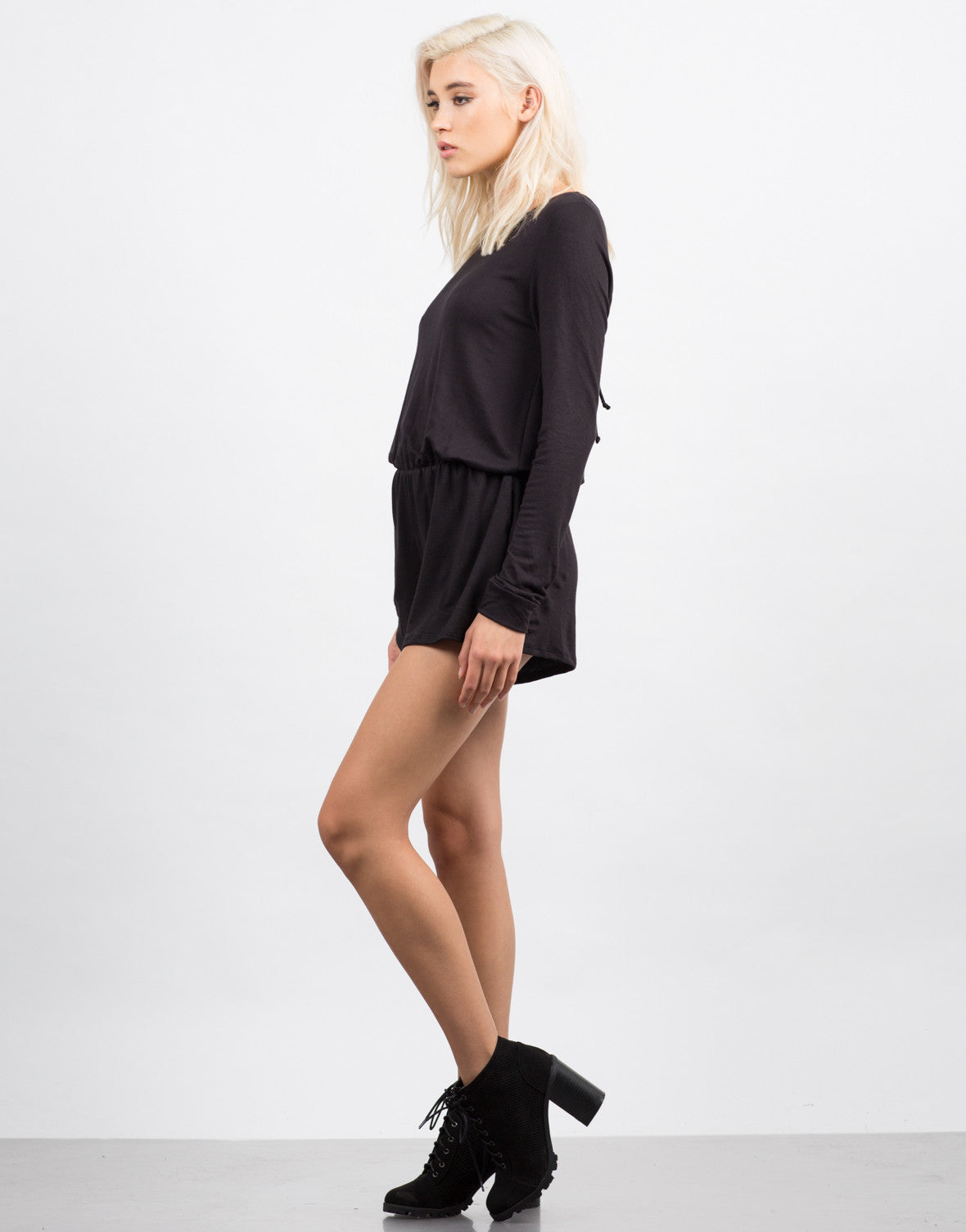 Side View of Cozy Long Sleeve Romper