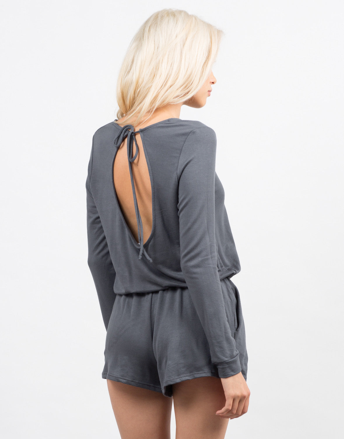 Back View of Cozy Long Sleeve Romper