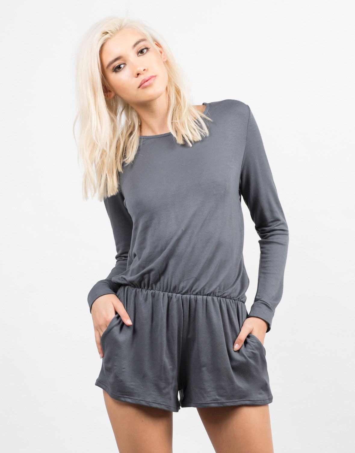 Front View of Cozy Long Sleeve Romper