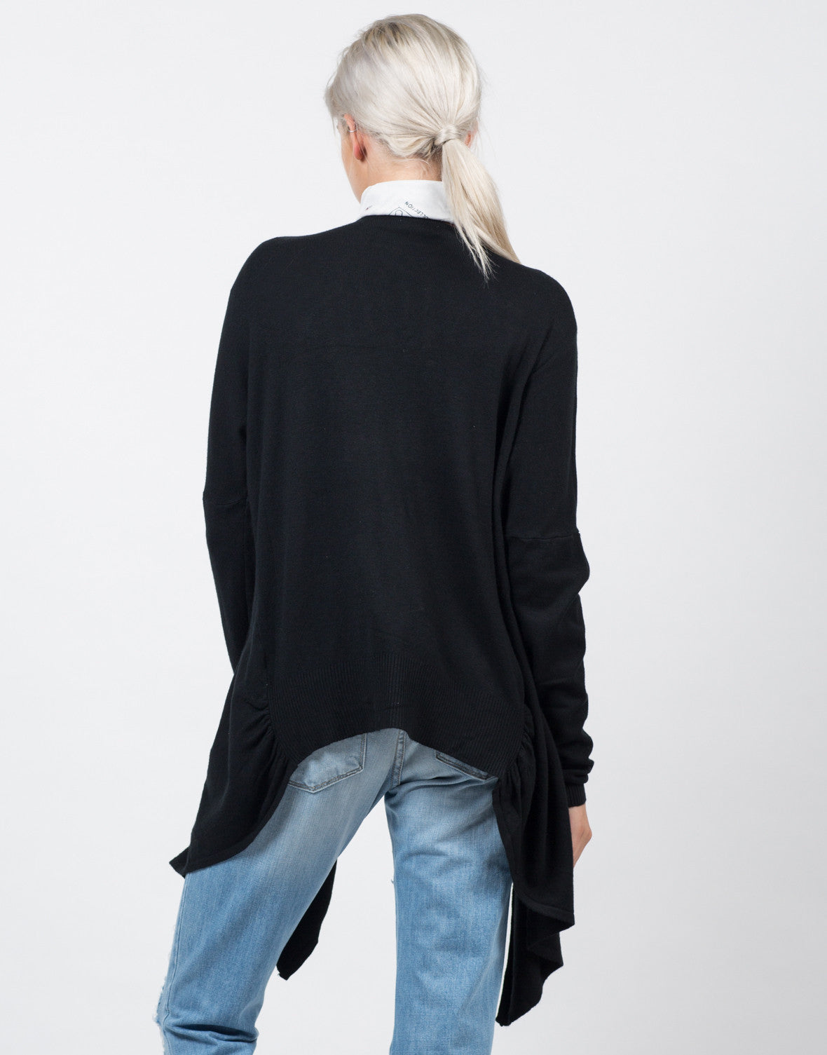 Back View of Cozy Open Draped Cardigan