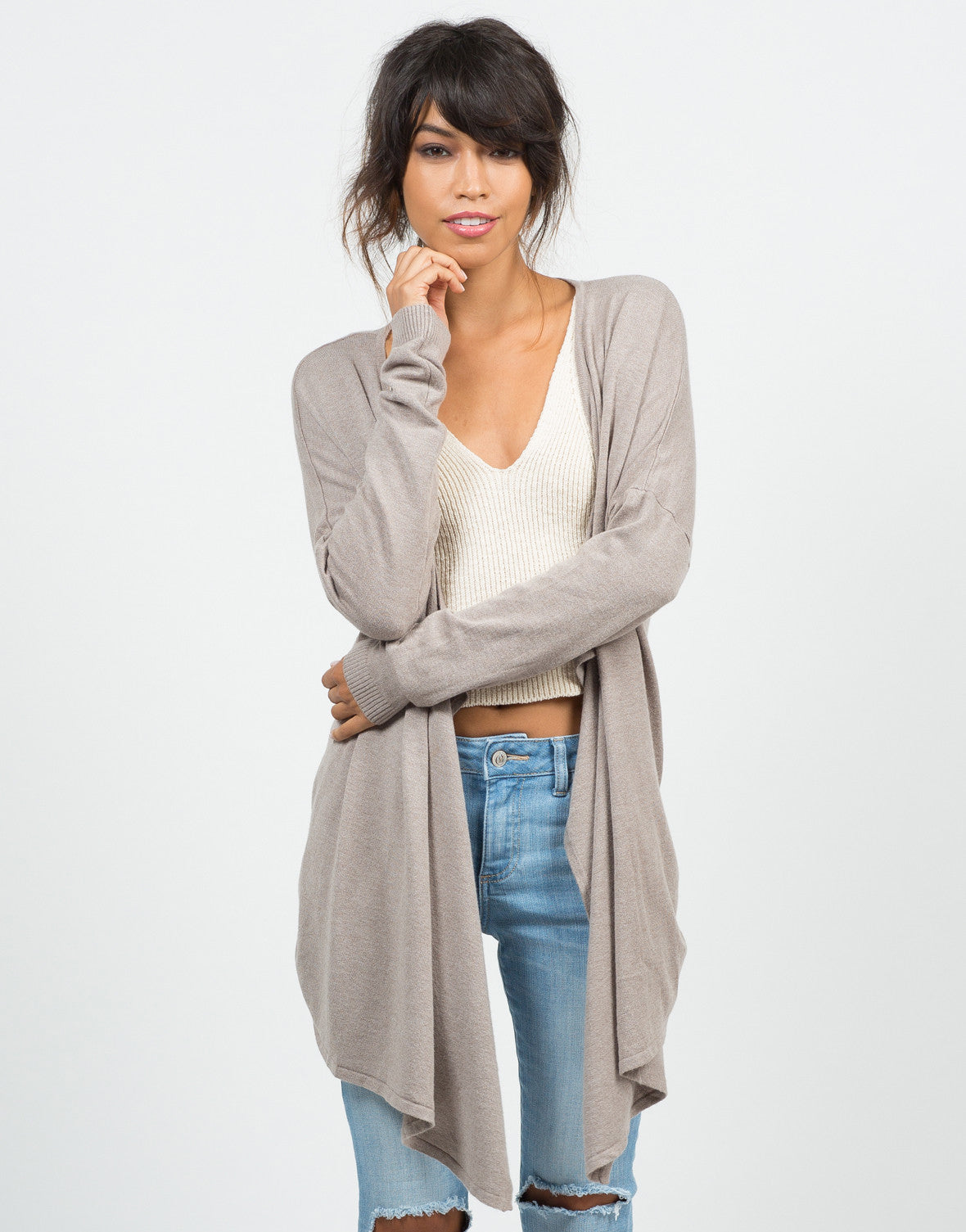 Front View of Cozy Open Draped Cardigan