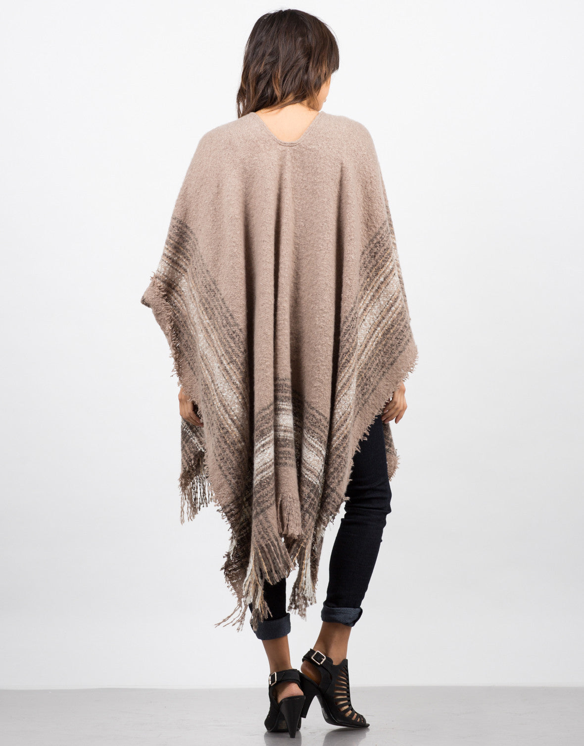 Back View of Cozy Oversized Poncho