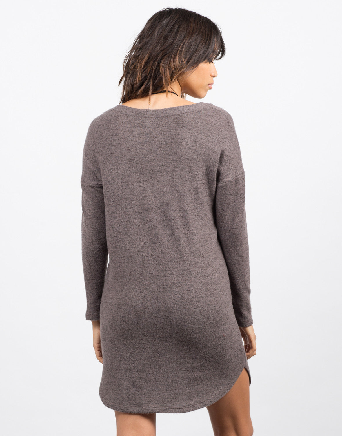 Back View of Cozy V-Neck Sweater Dress