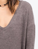 Detail of Cozy V-Neck Sweater Dress