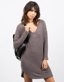 Front View of Cozy V-Neck Sweater Dress