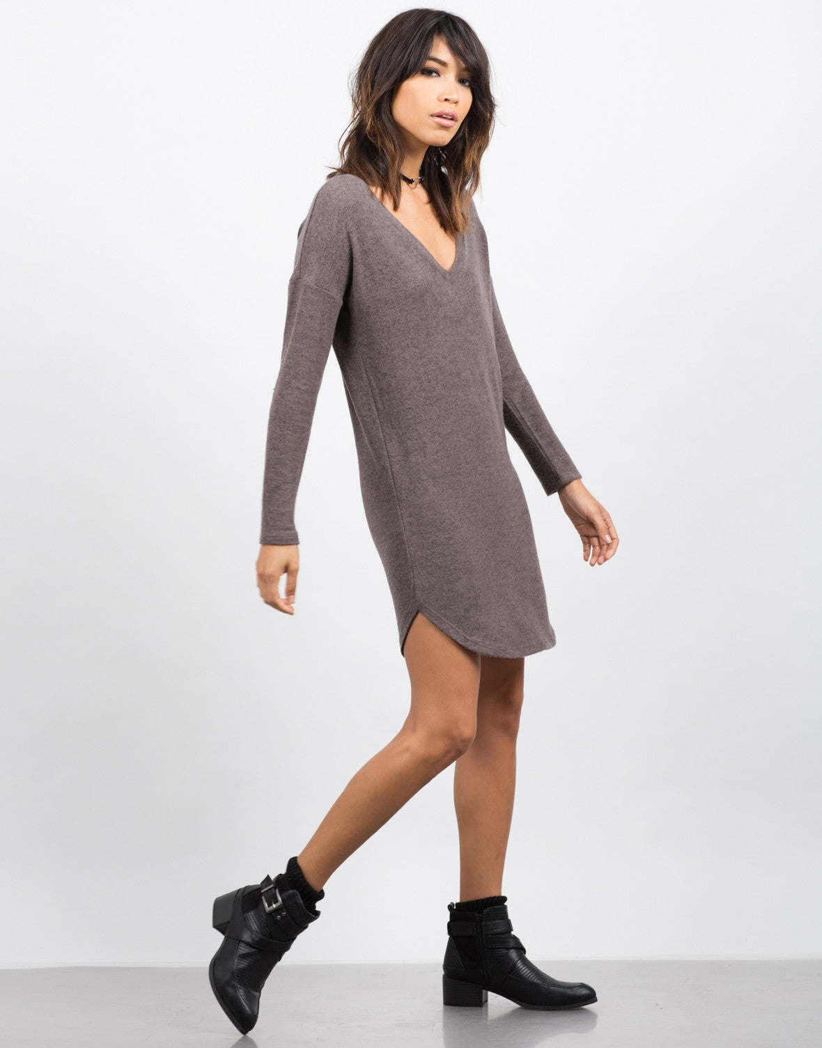 Side View of Cozy V-Neck Sweater Dress