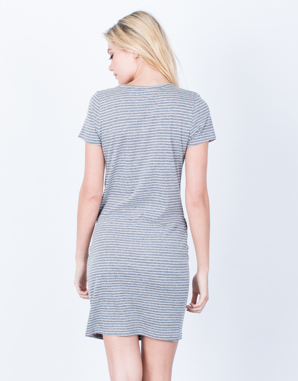 Back View of Crazy For Stripes Tee Dress