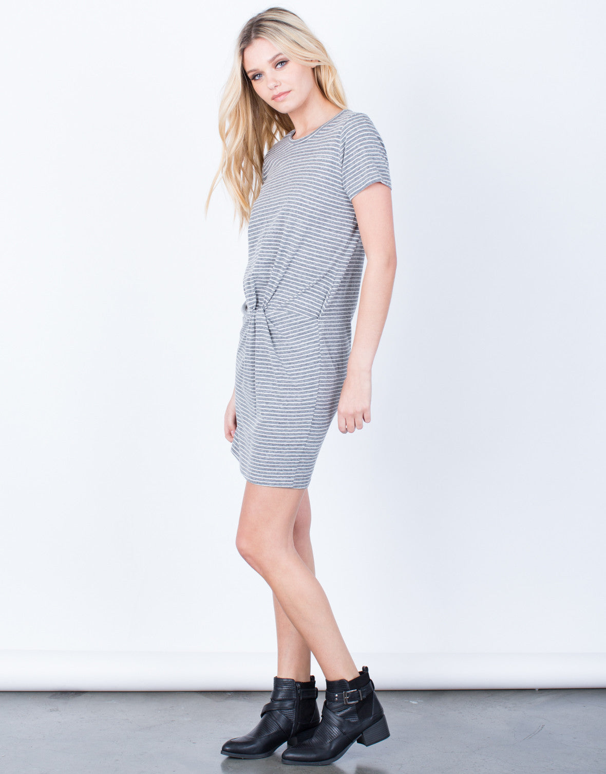 Side View of Crazy For Stripes Tee Dress