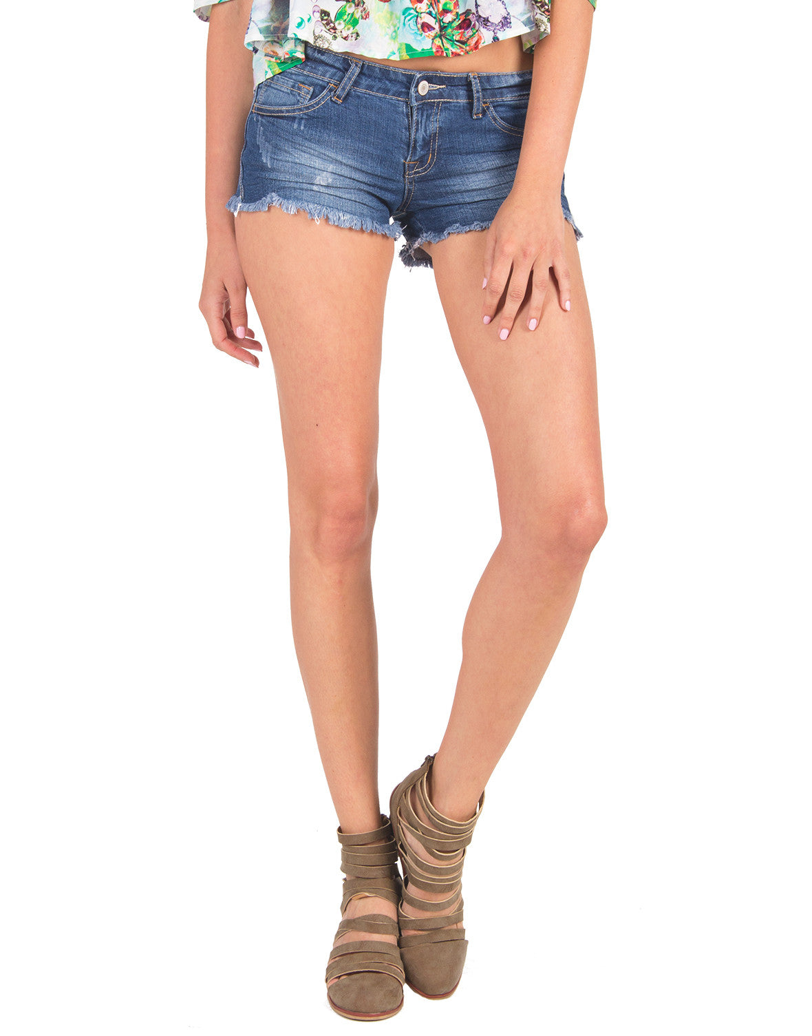 Creased Fringe Denim Shorts