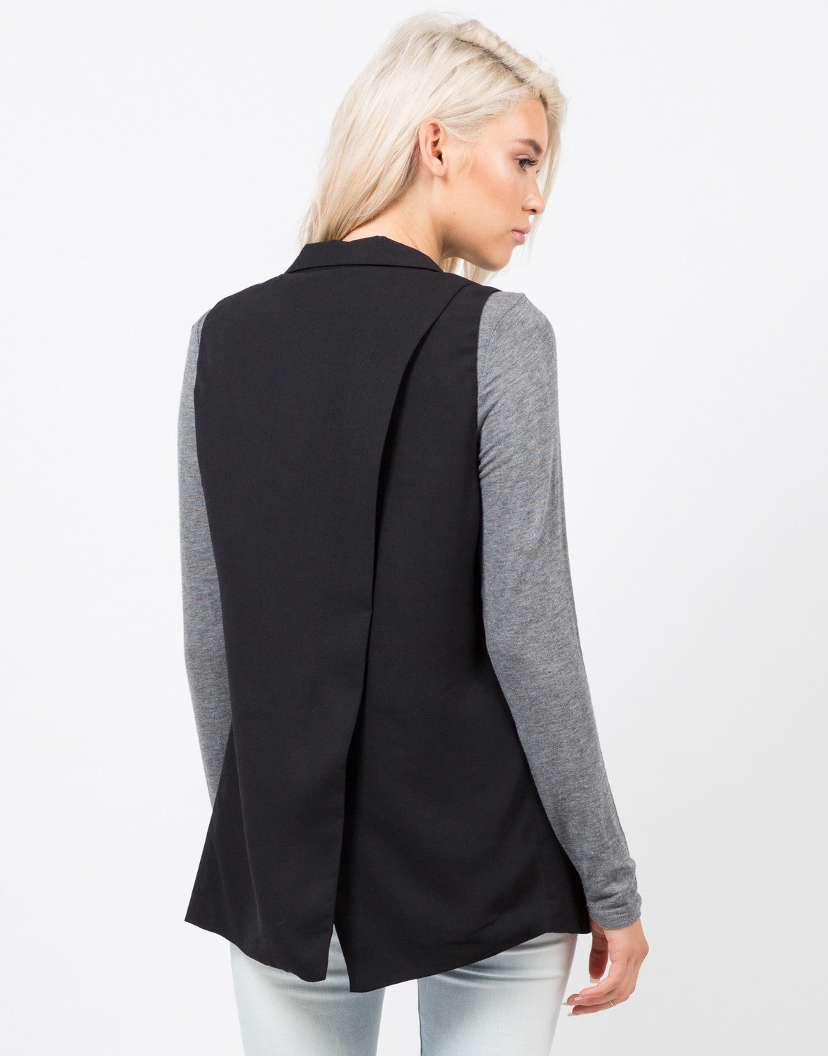 Back View of Crepe Blazer Vest