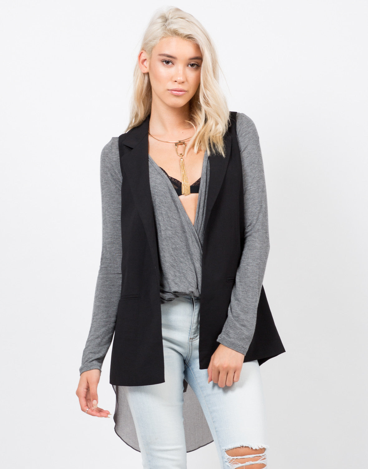 Front View of Crepe Blazer Vest