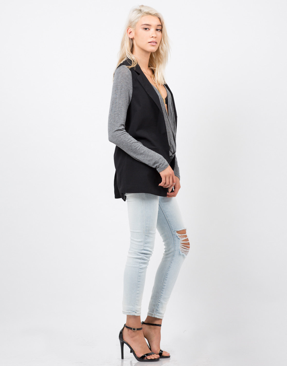 Side View of Crepe Blazer Vest