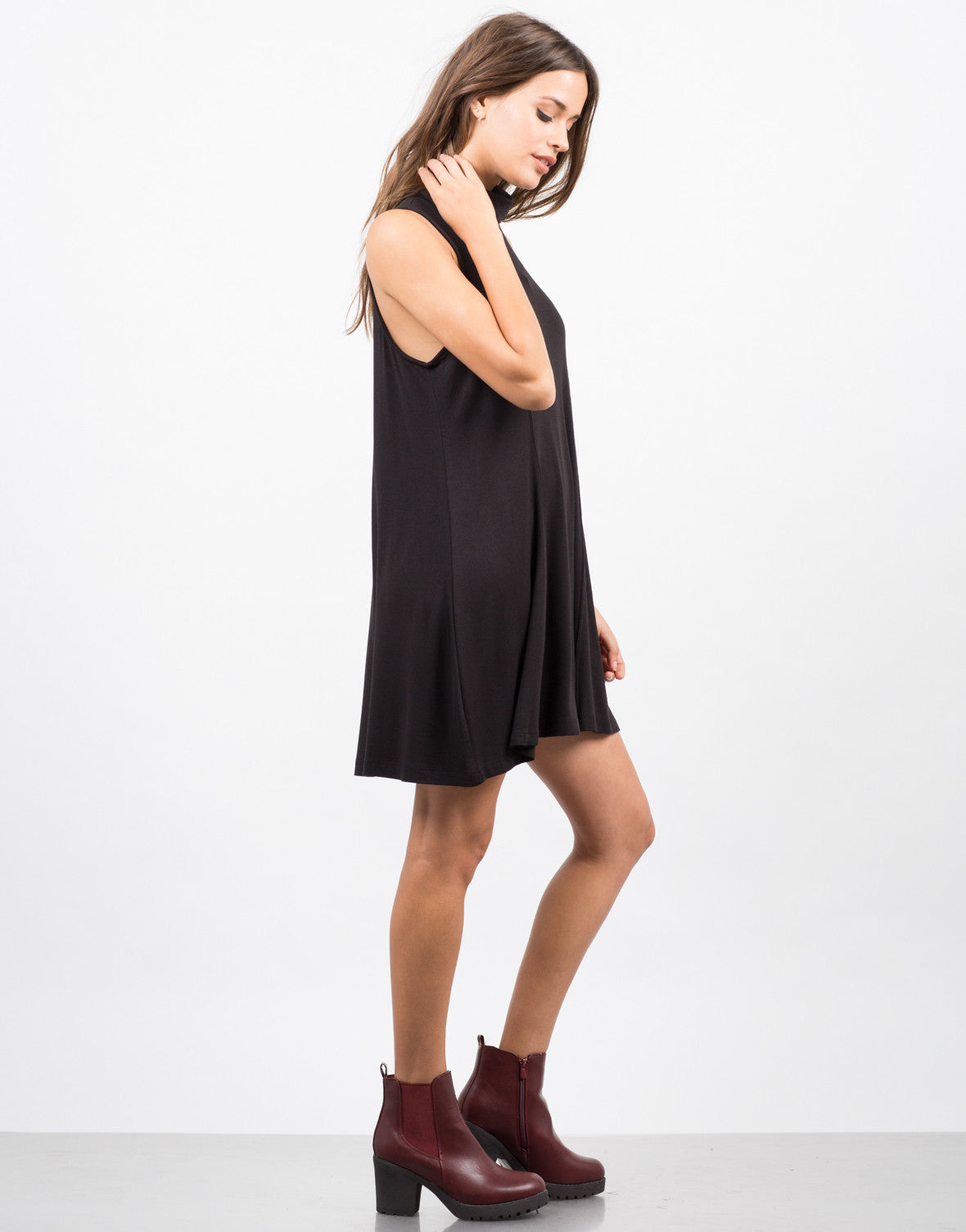 Side View of Crepe Turtleneck Dress