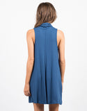 Back View of Crepe Turtleneck Dress